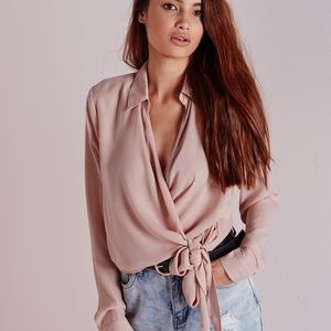 Missguided Wrap Over Tie Side Blouse Nude